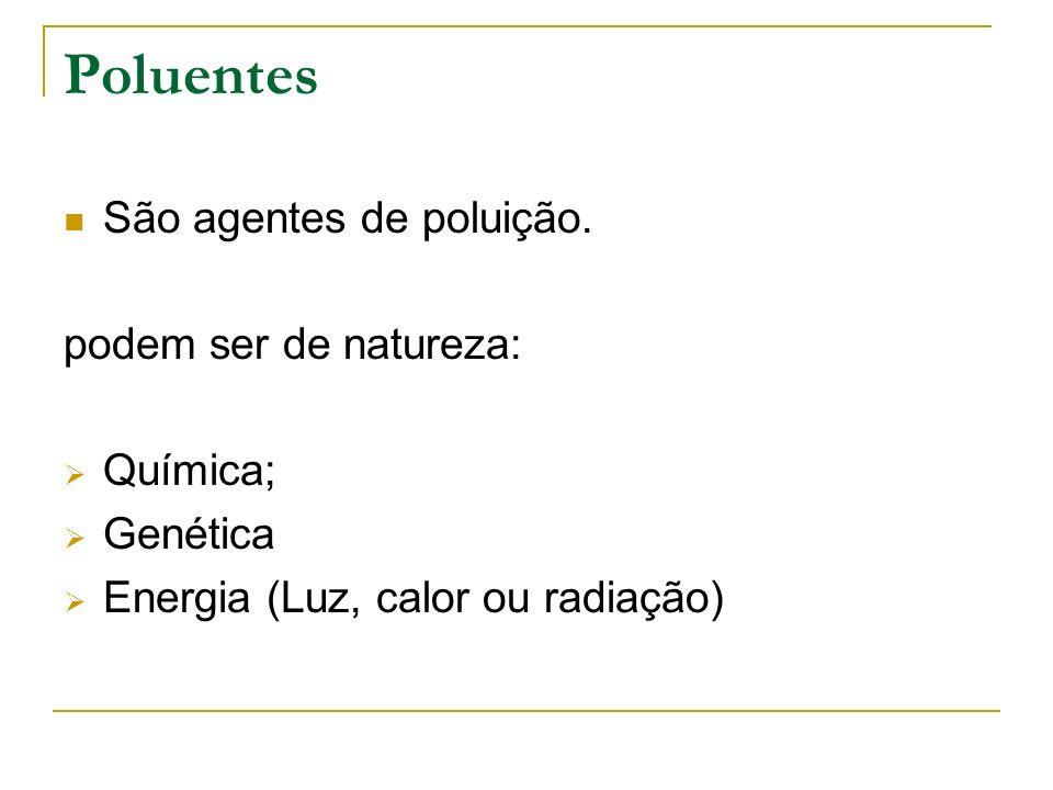 Poluentes São agentes de poluição. podem ser de natureza: Química; Genética Energia (Luz, calor ou radiação)