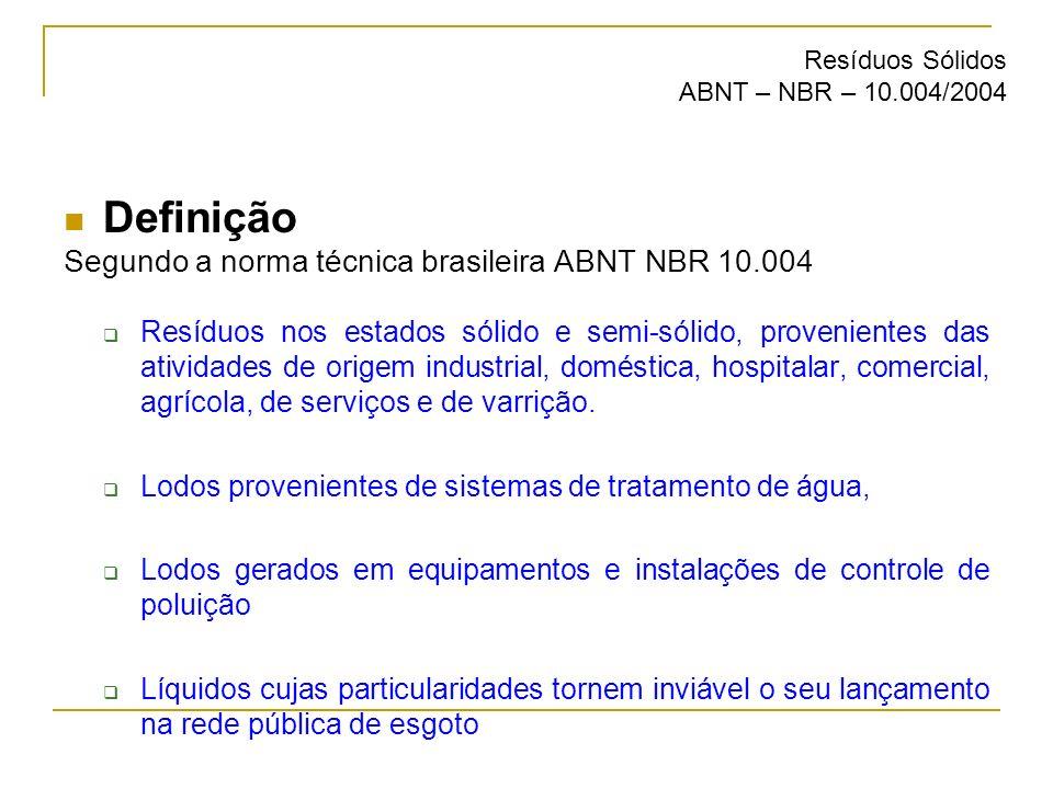 Definição Segundo a norma técnica brasileira ABNT NBR 10.004 Resíduos nos estados sólido e semi-sólido, provenientes das atividades de origem industri