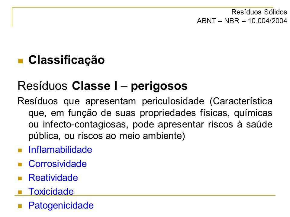 Classificação Resíduos Classe I – perigosos Resíduos que apresentam periculosidade (Característica que, em função de suas propriedades físicas, químic