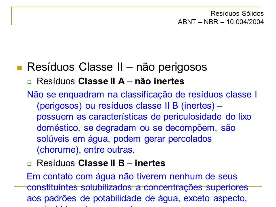 Resíduos Classe II – não perigosos Resíduos Classe II A – não inertes Não se enquadram na classificação de resíduos classe I (perigosos) ou resíduos c