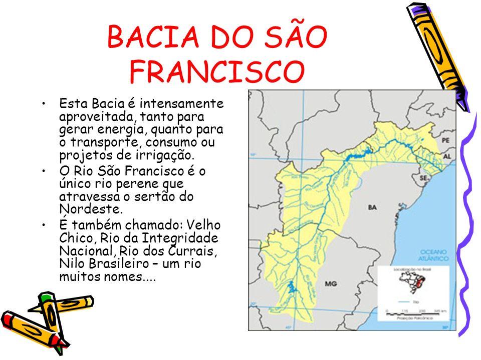 BACIA DO SÃO FRANCISCO Esta Bacia é intensamente aproveitada, tanto para gerar energia, quanto para o transporte, consumo ou projetos de irrigação. O
