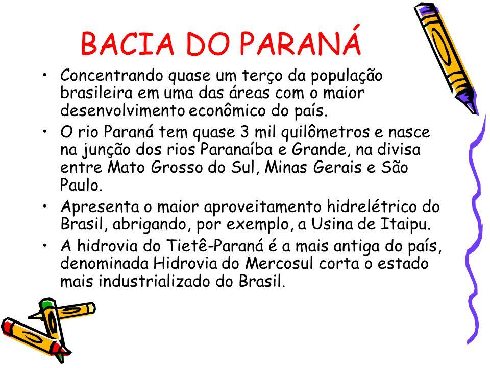 Concentrando quase um terço da população brasileira em uma das áreas com o maior desenvolvimento econômico do país. O rio Paraná tem quase 3 mil quilô