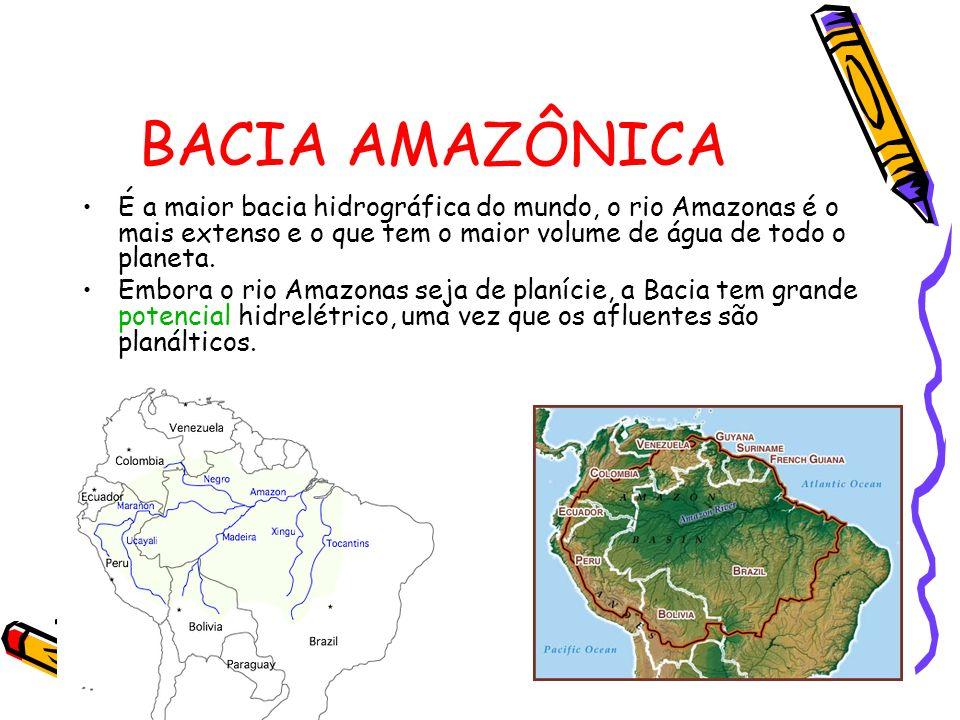 BACIA AMAZÔNICA É a maior bacia hidrográfica do mundo, o rio Amazonas é o mais extenso e o que tem o maior volume de água de todo o planeta. Embora o