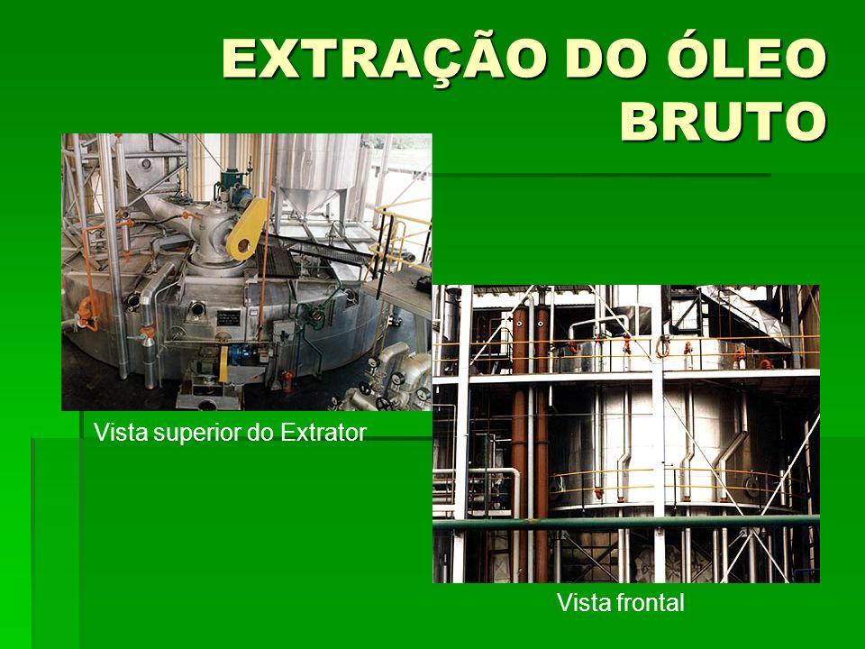 EXTRAÇÃO DO ÓLEO BRUTO Vista superior do Extrator Vista frontal