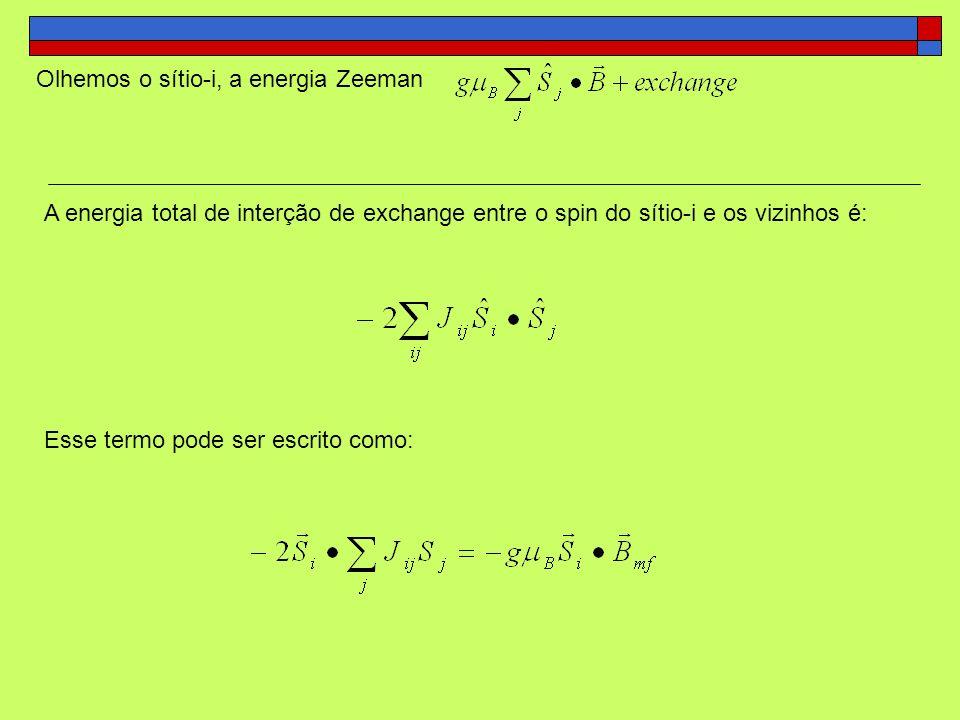 Olhemos o sítio-i, a energia Zeeman A energia total de interção de exchange entre o spin do sítio-i e os vizinhos é: Esse termo pode ser escrito como:
