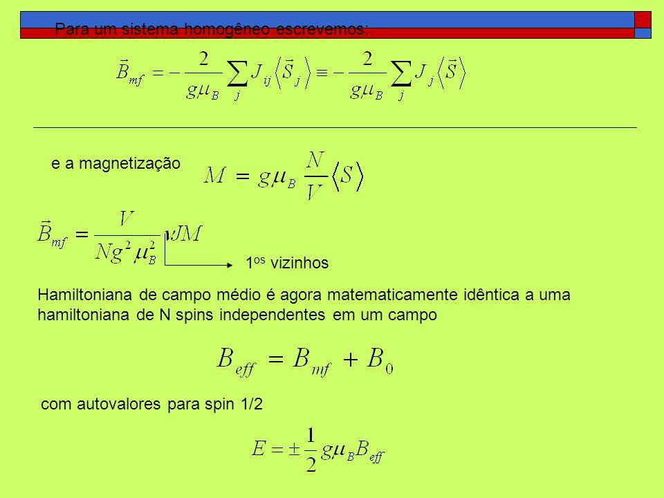 Para um sistema homogêneo escrevemos: e a magnetização Hamiltoniana de campo médio é agora matematicamente idêntica a uma hamiltoniana de N spins inde
