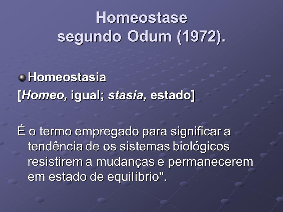 Homeostase segundo Odum (1972). Homeostasia [Homeo, igual; stasia, estado] É o termo empregado para significar a tendência de os sistemas biológicos r