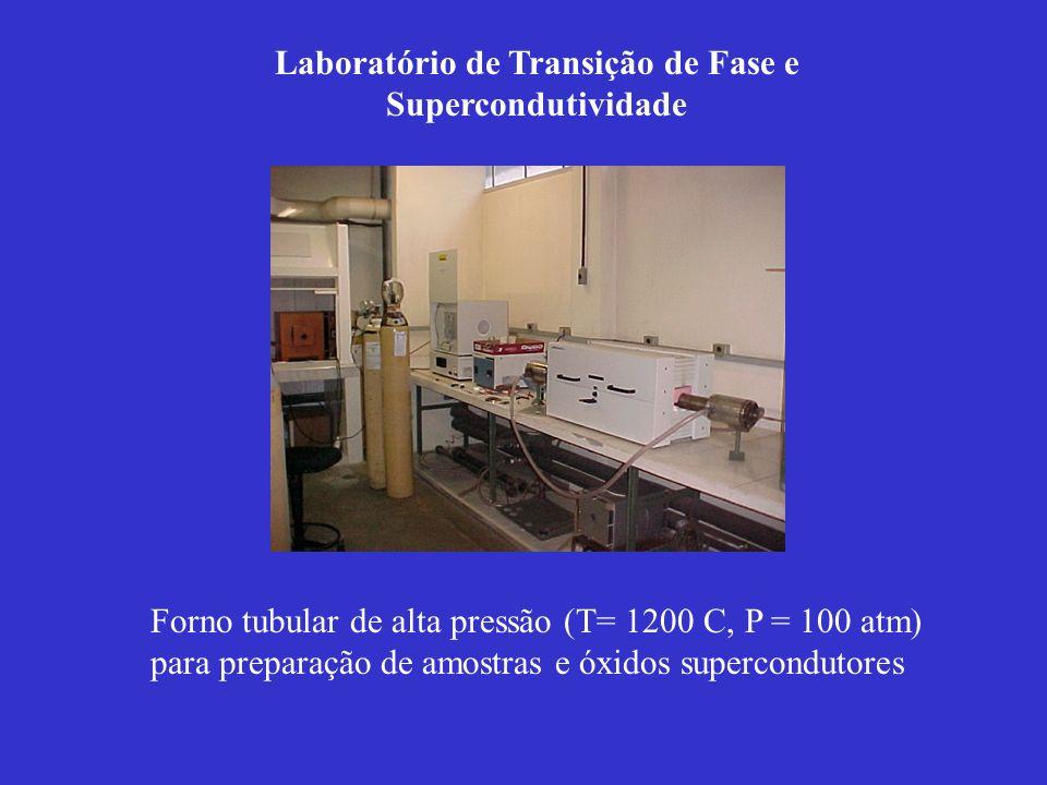 Forno tubular de alta pressão (T= 1200 C, P = 100 atm) para preparação de amostras e óxidos supercondutores Laboratório de Transição de Fase e Superco