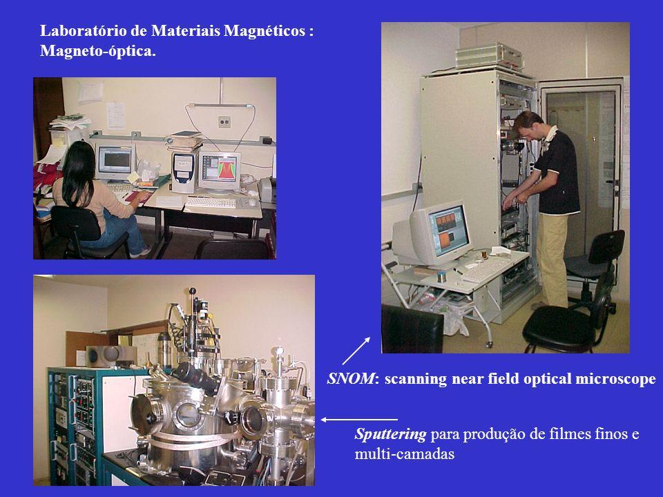 SNOM: scanning near field optical microscope Sputtering para produção de filmes finos e multi-camadas Laboratório de Materiais Magnéticos : Magneto-óp