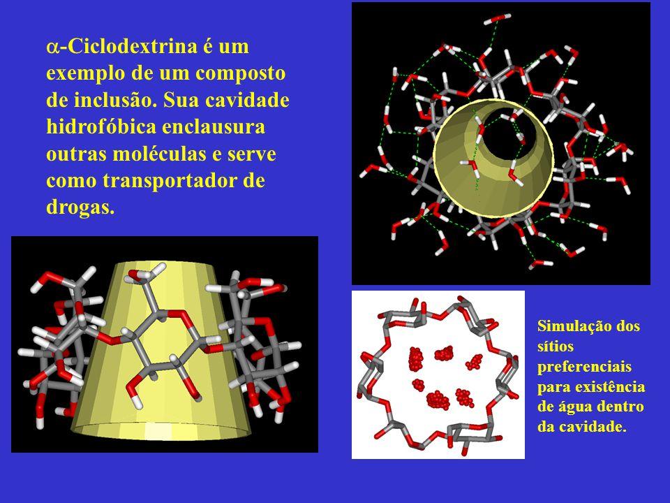 -Ciclodextrina é um exemplo de um composto de inclusão. Sua cavidade hidrofóbica enclausura outras moléculas e serve como transportador de drogas. Sim