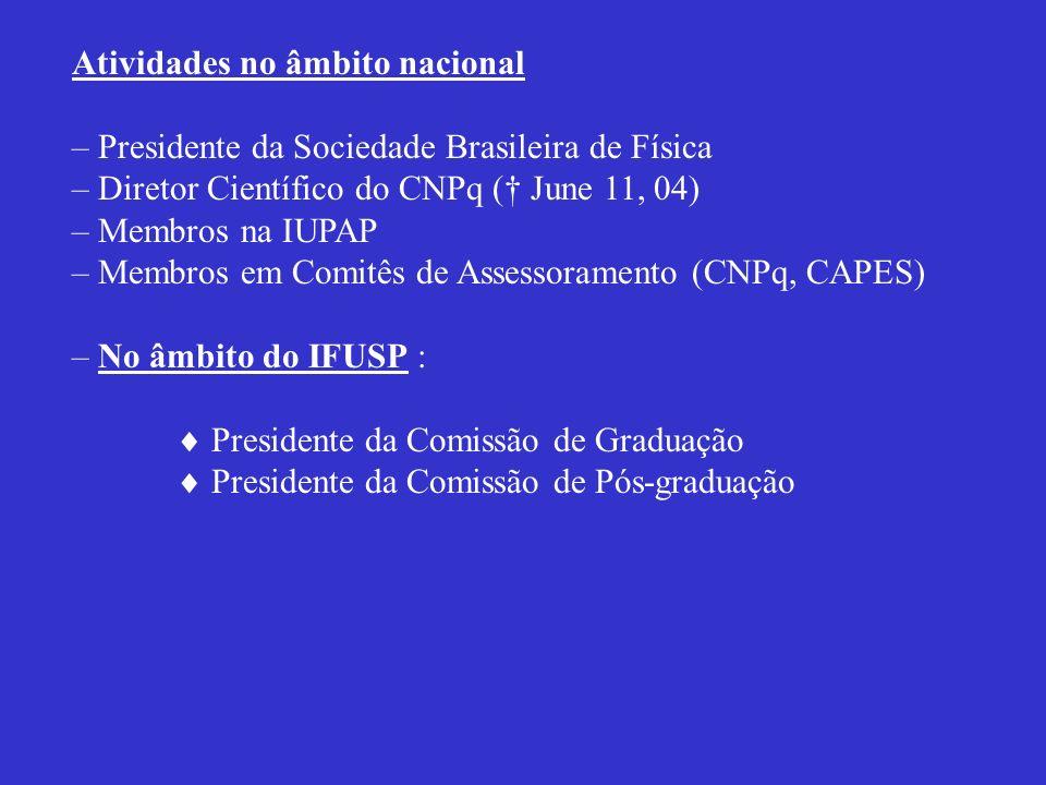Atividades no âmbito nacional – Presidente da Sociedade Brasileira de Física – Diretor Científico do CNPq ( June 11, 04) – Membros na IUPAP – Membros