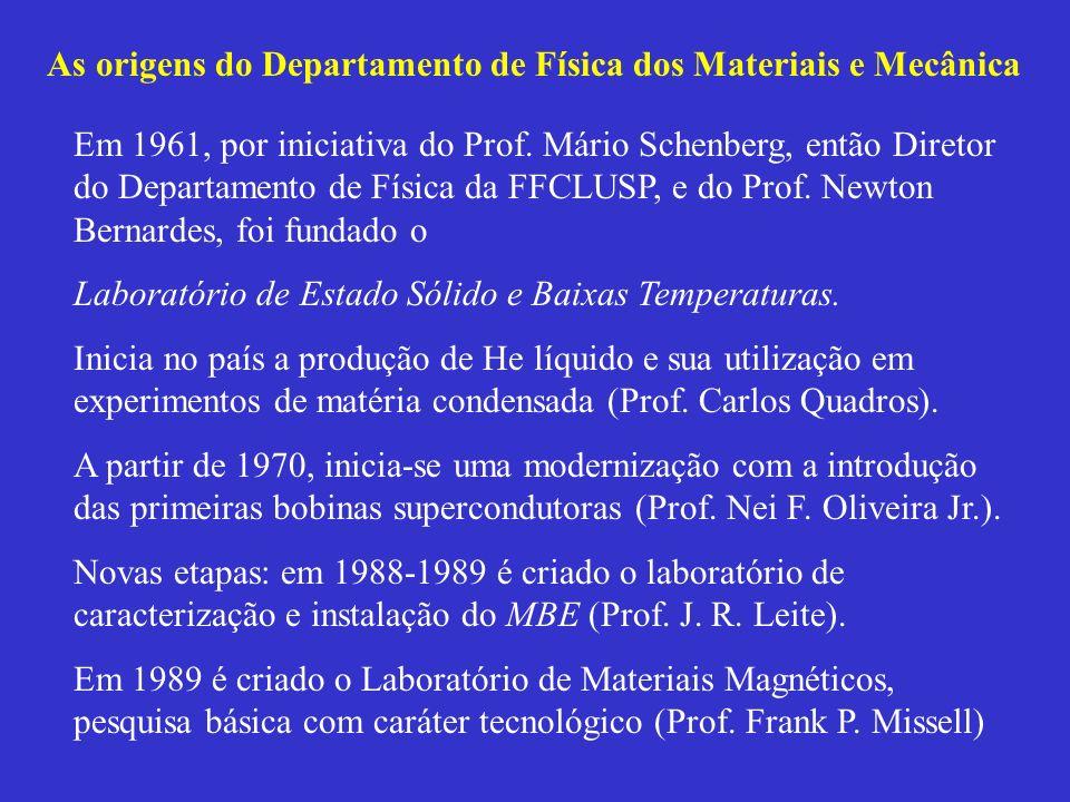 As origens do Departamento de Física dos Materiais e Mecânica Em 1961, por iniciativa do Prof. Mário Schenberg, então Diretor do Departamento de Físic