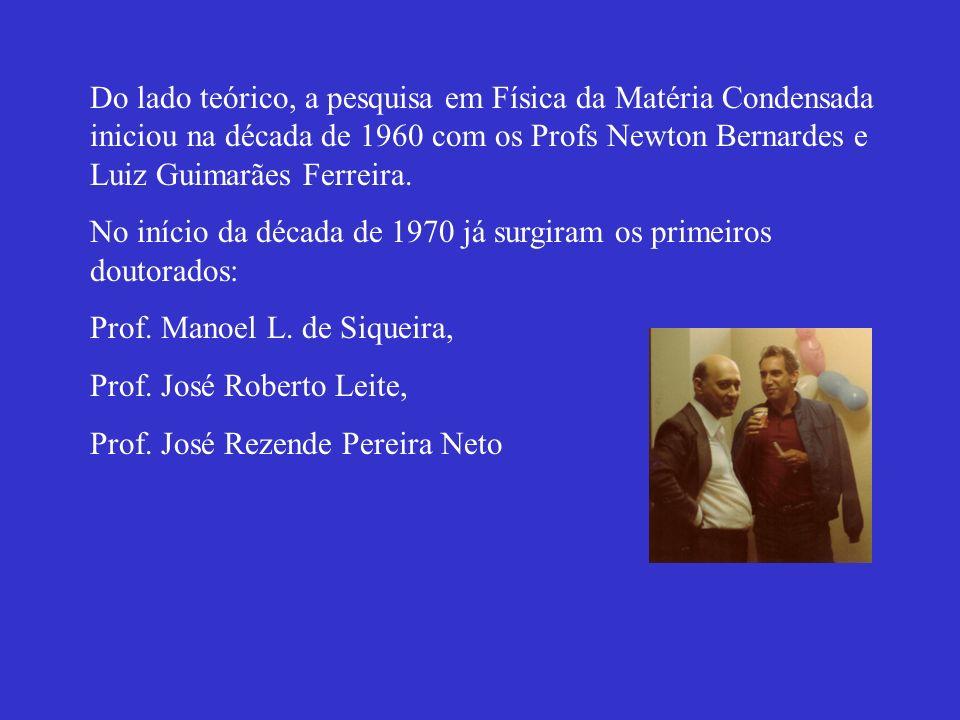 Do lado teórico, a pesquisa em Física da Matéria Condensada iniciou na década de 1960 com os Profs Newton Bernardes e Luiz Guimarães Ferreira. No iníc