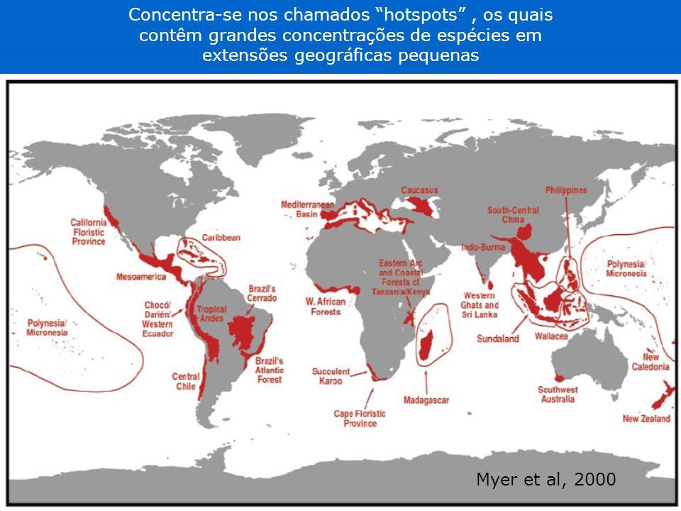 Concentra-se nos chamados hotspots, os quais contêm grandes concentrações de espécies em extensões geográficas pequenas Myer et al, 2000
