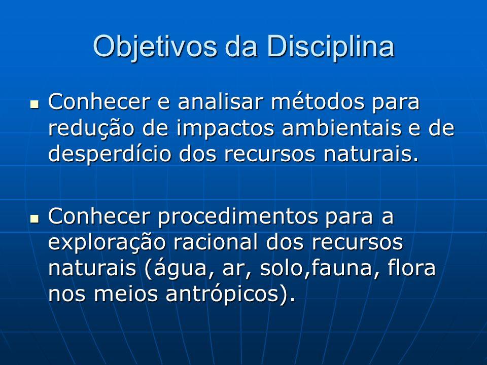 Objetivos da Disciplina Compreender a necessidade de dominar alguns procedimentos de conservação e manejo dos recursos naturais com os quais interagem, aplicando-os no cotidiano.