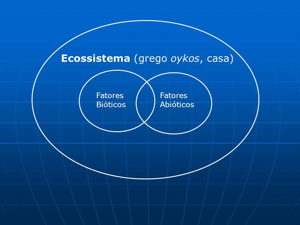 Ecossistema (grego oykos, casa) Fatores Bióticos Fatores Abióticos