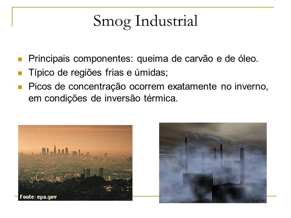 Smog Industrial Principais componentes: queima de carvão e de óleo. Típico de regiões frias e úmidas; Picos de concentração ocorrem exatamente no inve