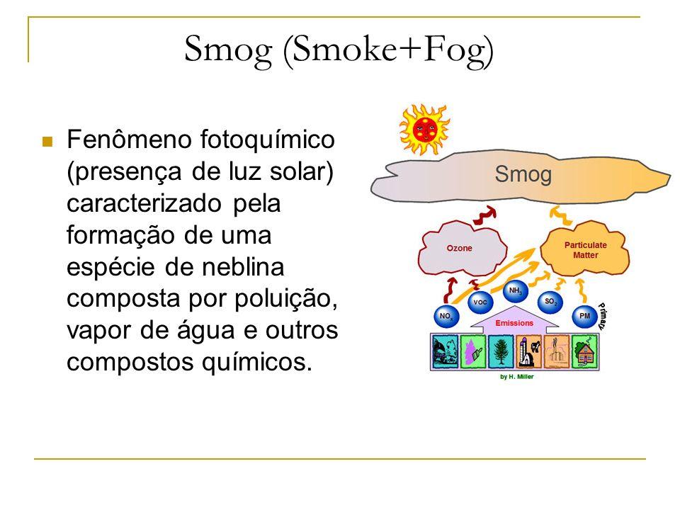 Smog (Smoke+Fog) Fenômeno fotoquímico (presença de luz solar) caracterizado pela formação de uma espécie de neblina composta por poluição, vapor de ág