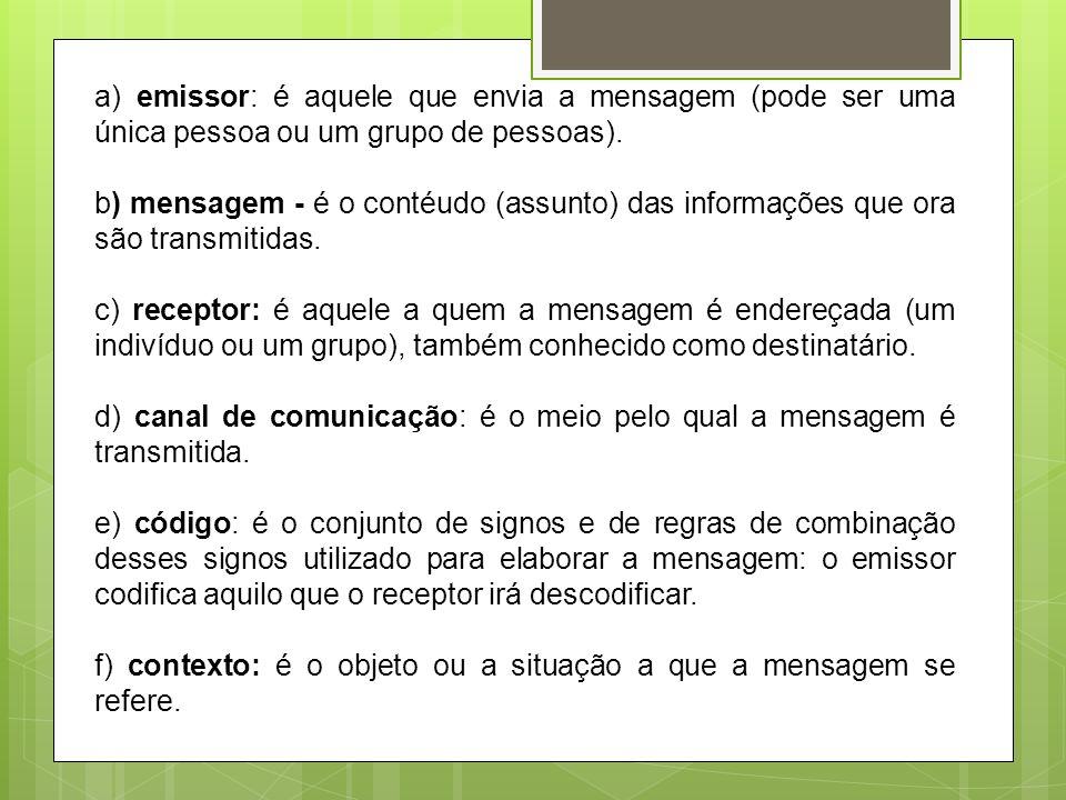 a) emissor: é aquele que envia a mensagem (pode ser uma única pessoa ou um grupo de pessoas). b) mensagem - é o contéudo (assunto) das informações que