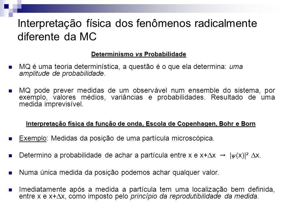 Interpretação física dos fenômenos radicalmente diferente da MC MQ é uma teoria determinística, a questão é o que ela determina: uma amplitude de prob