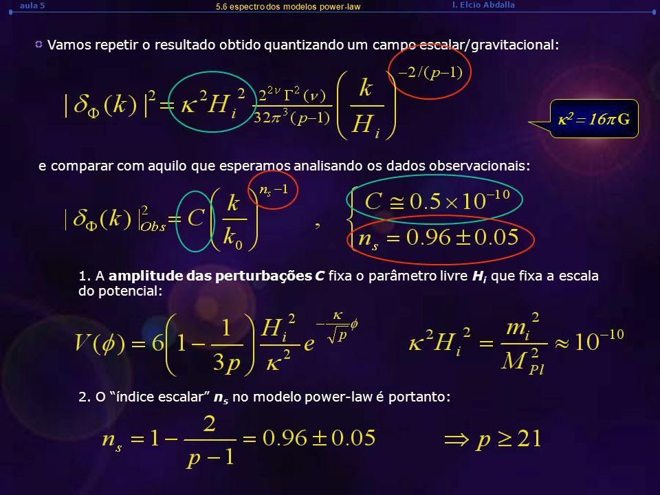 l. Elcio Abdalla aula 5 5.6 espectro dos modelos power-law Vamos repetir o resultado obtido quantizando um campo escalar/gravitacional: e comparar com