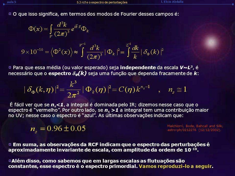 l. Elcio Abdalla aula 5 5.3 rcf e o espectro de perturbações O que isso significa, em termos dos modos de Fourier desses campos é: Para que essa média