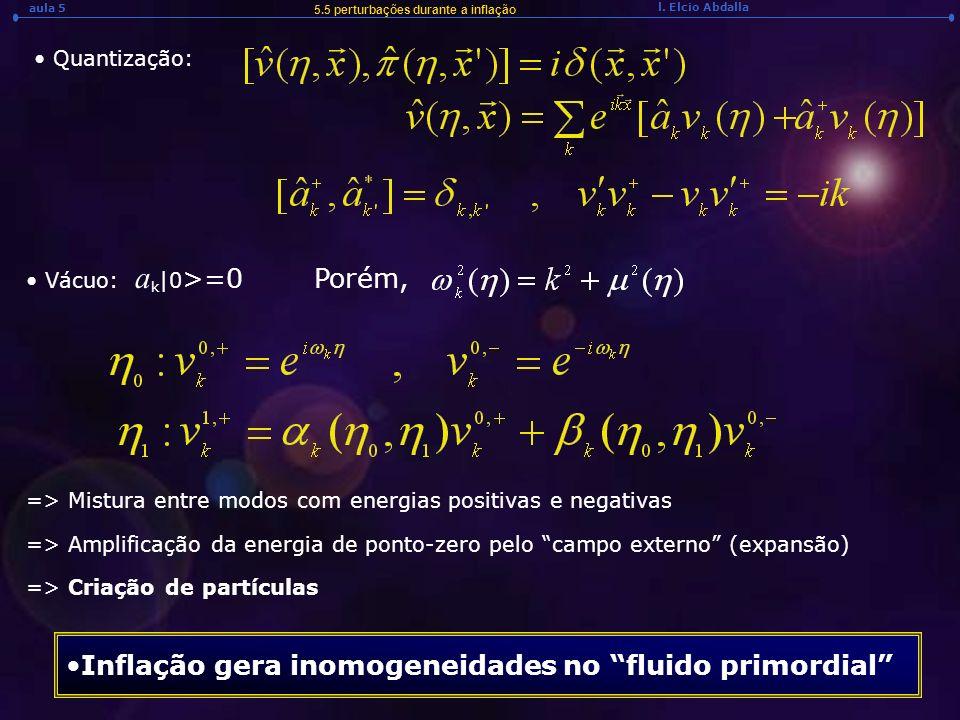 l. Elcio Abdalla aula 5 5.5 perturbações durante a inflação Quantização: Vácuo: a k |0 >=0Porém, => Mistura entre modos com energias positivas e negat