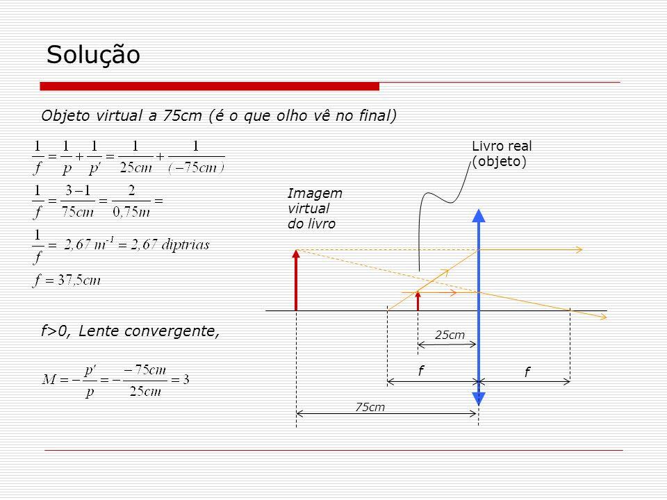 Solução 25cm 75cm f f>0, Lente convergente, Objeto virtual a 75cm (é o que olho vê no final) Livro real (objeto) Imagem virtual do livro f