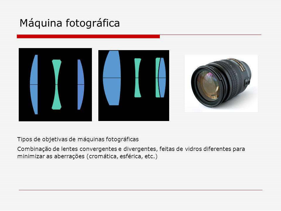 Tipos de objetivas de máquinas fotográficas Combinação de lentes convergentes e divergentes, feitas de vidros diferentes para minimizar as aberrações