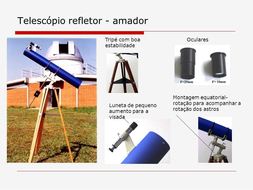 Telescópio refletor - amador Tripé com boa estabilidade Oculares Luneta de pequeno aumento para a visada Montagem equatorial- rotação para acompanhar
