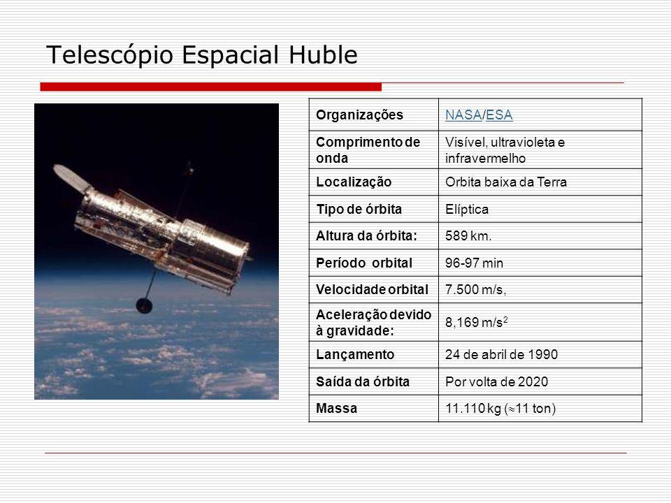 Telescópio Espacial Huble OrganizaçõesNASANASA/ESAESA Comprimento de onda Visível, ultravioleta e infravermelho LocalizaçãoOrbita baixa da Terra Tipo