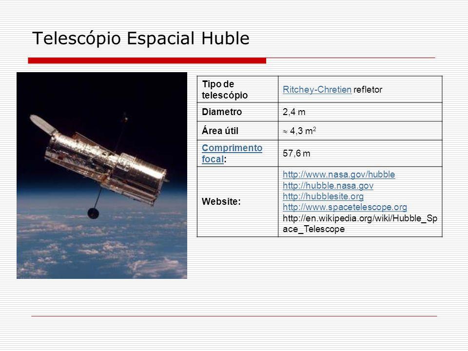 Telescópio Espacial Huble Tipo de telescópio Ritchey-ChretienRitchey-Chretien refletor Diametro2,4 m Área útil 4,3 m 2 Comprimento focalComprimento fo