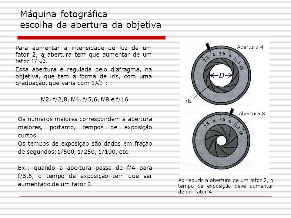 Máquina fotográfica escolha da abertura da objetiva Os números maiores correspondem à abertura maiores, portanto, tempos de exposição curtos. Os tempo