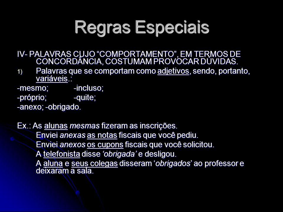 Regras Especiais IV- PALAVRAS CUJO COMPORTAMENTO, EM TERMOS DE CONCORDÂNCIA, COSTUMAM PROVOCAR DÚVIDAS. 1) Palavras que se comportam como adjetivos, s