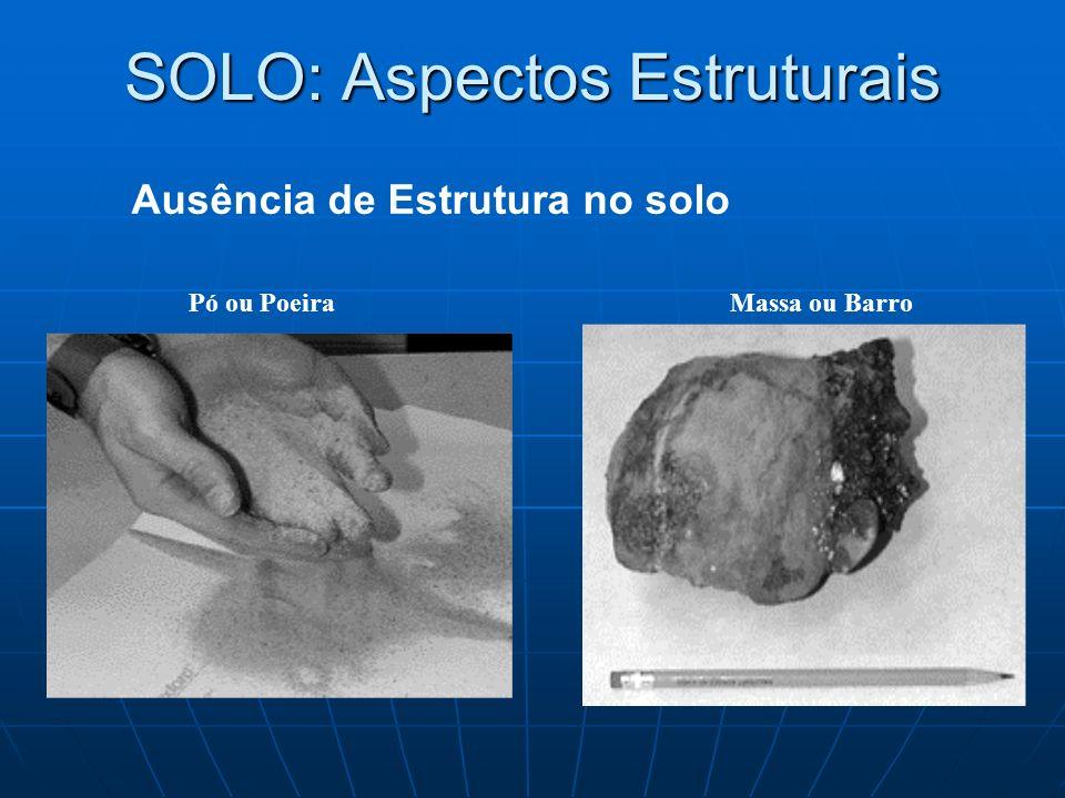 Ausência de Estrutura no solo SOLO: Aspectos Estruturais Pó ou PoeiraMassa ou Barro