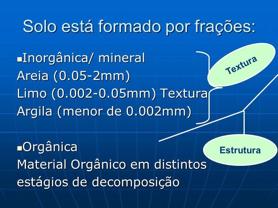 Solo está formado por frações: Inorgânica/ mineral Inorgânica/ mineral Areia (0.05-2mm) Limo (0.002-0.05mm) Textura Argila (menor de 0.002mm) Orgânica Orgânica Material Orgânico em distintos estágios de decomposição Textura Estrutura