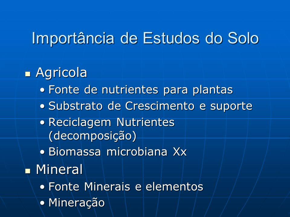Importância de Estudos do Solo Agricola Agricola Fonte de nutrientes para plantasFonte de nutrientes para plantas Substrato de Crescimento e suporteSubstrato de Crescimento e suporte Reciclagem Nutrientes (decomposição)Reciclagem Nutrientes (decomposição) Biomassa microbiana XxBiomassa microbiana Xx Mineral Mineral Fonte Minerais e elementosFonte Minerais e elementos MineraçãoMineração