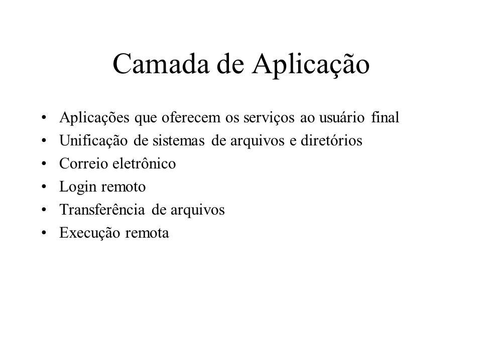 Camada de Aplicação Aplicações que oferecem os serviços ao usuário final Unificação de sistemas de arquivos e diretórios Correio eletrônico Login remo