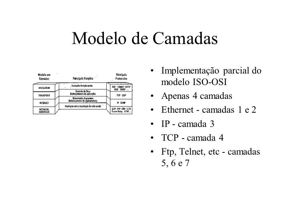 Modelo de Camadas Implementação parcial do modelo ISO-OSI Apenas 4 camadas Ethernet - camadas 1 e 2 IP - camada 3 TCP - camada 4 Ftp, Telnet, etc - ca