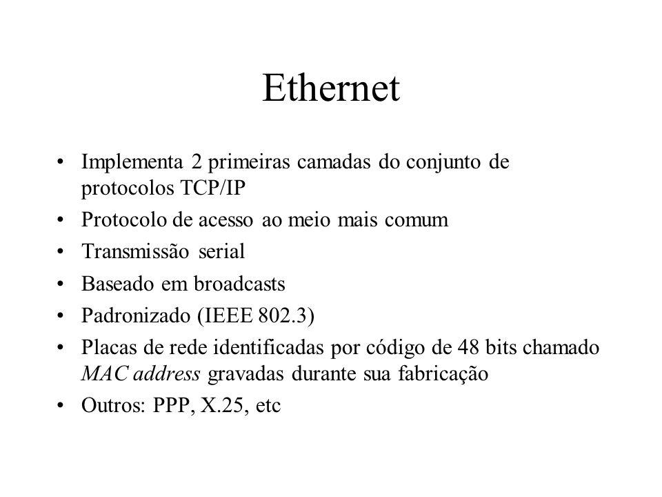 Ethernet Implementa 2 primeiras camadas do conjunto de protocolos TCP/IP Protocolo de acesso ao meio mais comum Transmissão serial Baseado em broadcas