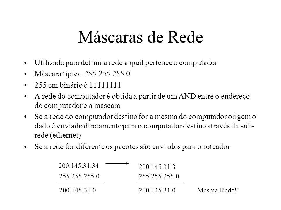 Máscaras de Rede Utilizado para definir a rede a qual pertence o computador Máscara típica: 255.255.255.0 255 em binário é 11111111 A rede do computad
