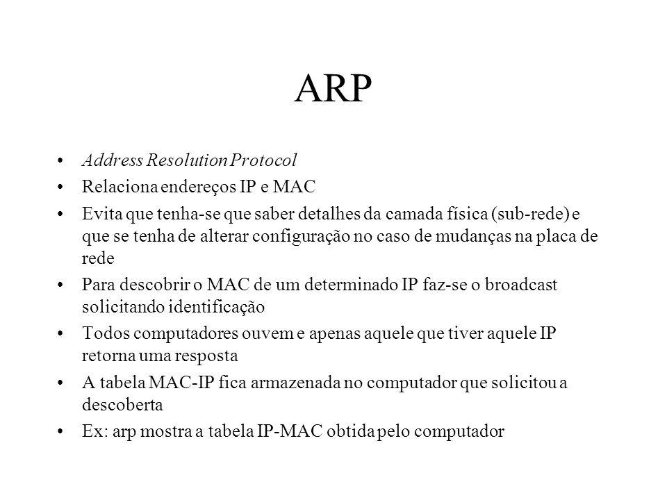 ARP Address Resolution Protocol Relaciona endereços IP e MAC Evita que tenha-se que saber detalhes da camada física (sub-rede) e que se tenha de alter