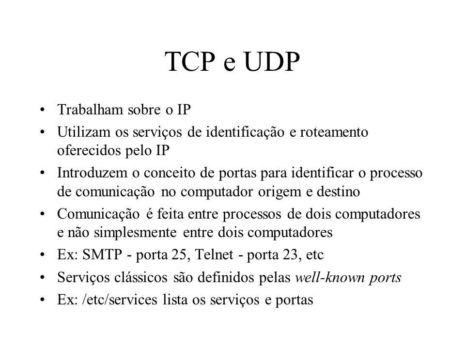 TCP e UDP Trabalham sobre o IP Utilizam os serviços de identificação e roteamento oferecidos pelo IP Introduzem o conceito de portas para identificar