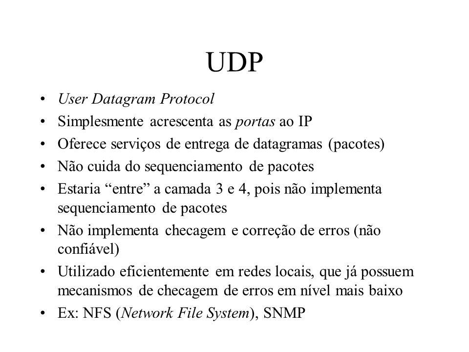 UDP User Datagram Protocol Simplesmente acrescenta as portas ao IP Oferece serviços de entrega de datagramas (pacotes) Não cuida do sequenciamento de