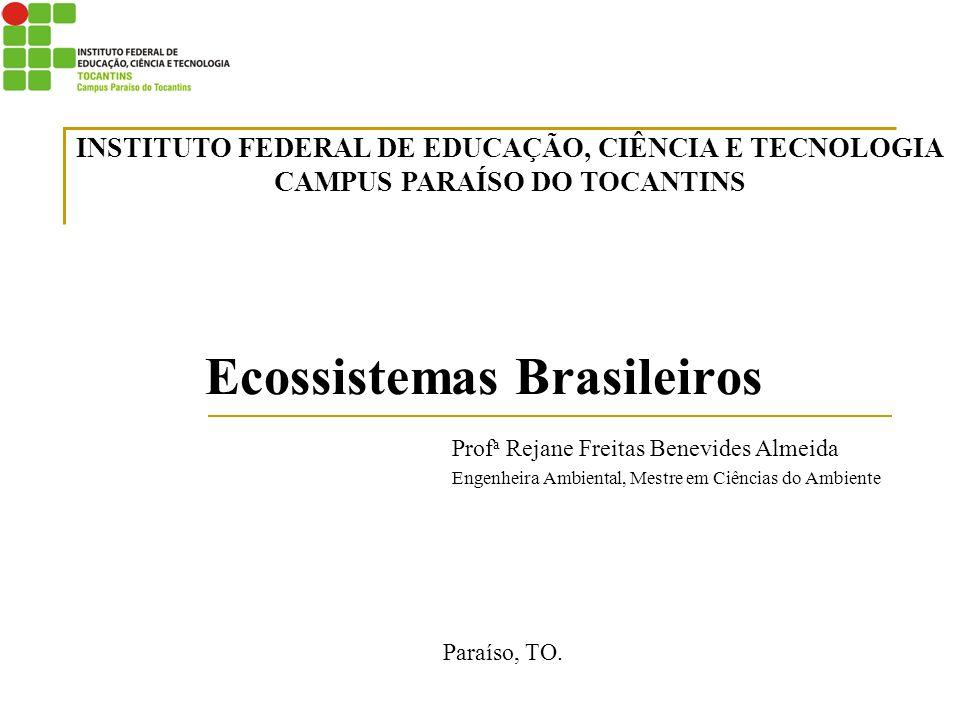 Ecossistemas Brasileiros Paraíso, TO. INSTITUTO FEDERAL DE EDUCAÇÃO, CIÊNCIA E TECNOLOGIA CAMPUS PARAÍSO DO TOCANTINS Prof a Rejane Freitas Benevides