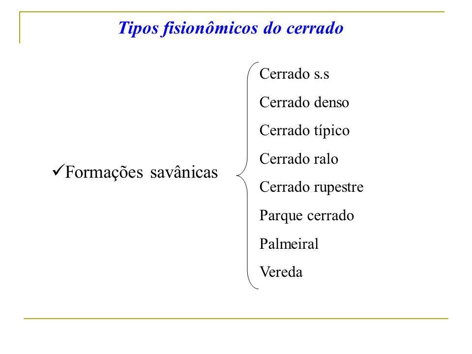 Formações savânicas Cerrado s.s Cerrado denso Cerrado típico Cerrado ralo Cerrado rupestre Parque cerrado Palmeiral Vereda Tipos fisionômicos do cerra