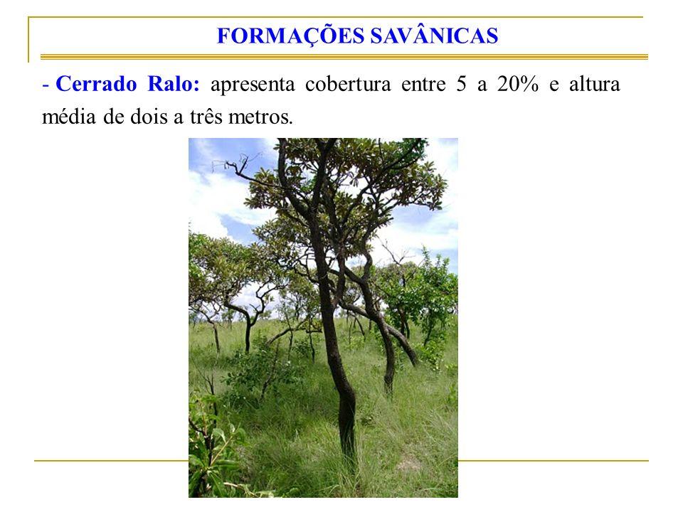 - Cerrado Ralo: apresenta cobertura entre 5 a 20% e altura média de dois a três metros. FORMAÇÕES SAVÂNICAS