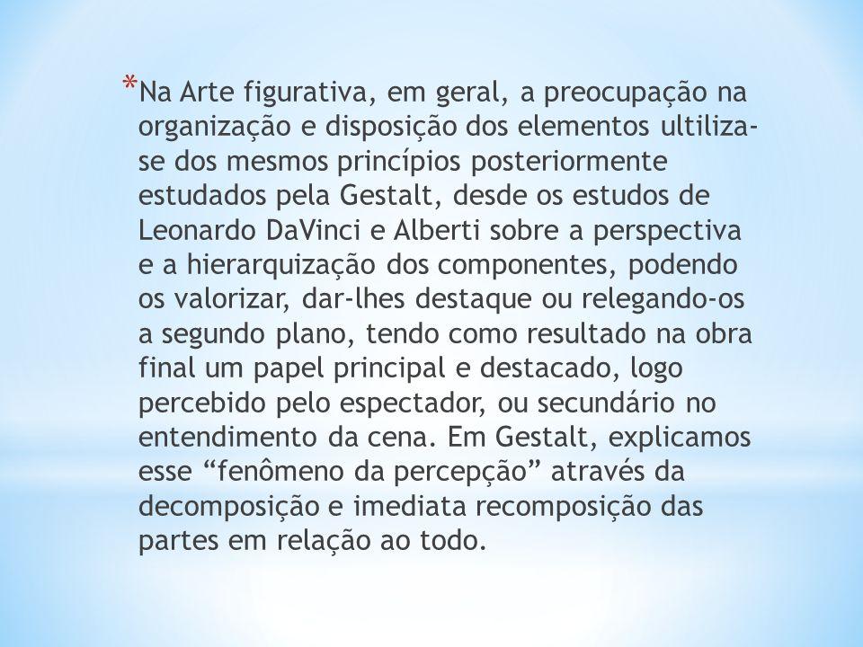 * Na Arte figurativa, em geral, a preocupação na organização e disposição dos elementos ultiliza- se dos mesmos princípios posteriormente estudados pe