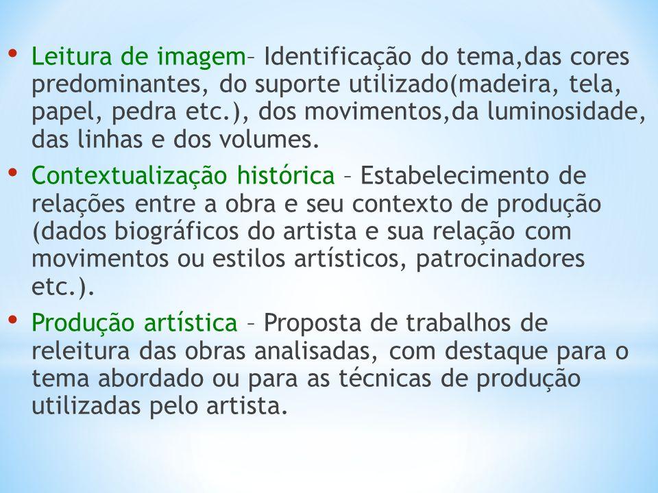 Leitura de imagem– Identificação do tema,das cores predominantes, do suporte utilizado(madeira, tela, papel, pedra etc.), dos movimentos,da luminosida