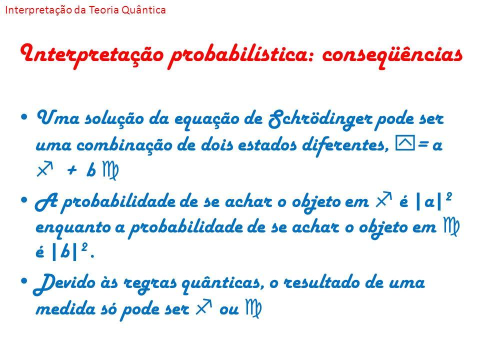 Interpretação probabilística: conseqüências Uma solução da equação de Schrödinger pode ser uma combinação de dois estados diferentes, = a + b A probab